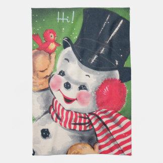 Retro Vintage snowman Holiday kitchen towel