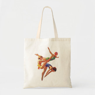 Retro Vintage Sports Diving Swimmers Diving Art Budget Tote Bag