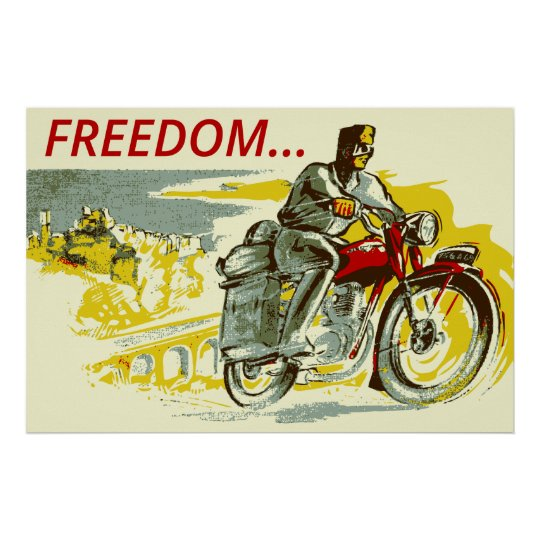 Retro vintage style FREEDOM motorcycle Poster