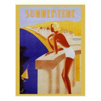 Retro vintage summertime sun sea beach beauty postcard