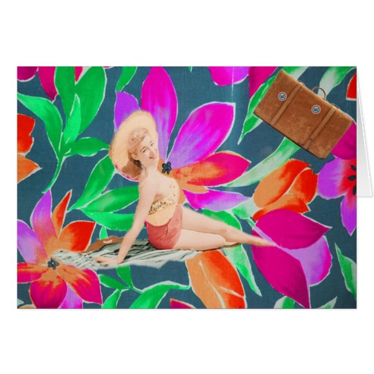 Retro Vintage Sunbathing Lady on Tropical Flowers Card