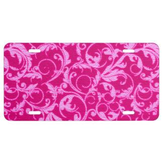 Retro Vintage Swirls Hot Pink License Plate