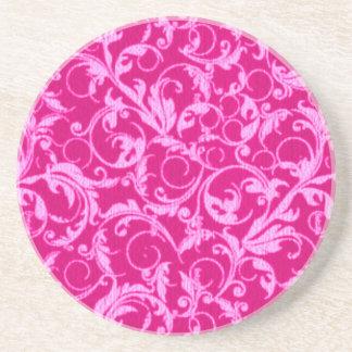 Retro Vintage Swirls Hot Pink Sandstone Coaster