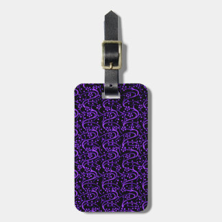 Retro Vintage Swirls Purple Black Luggage Tag