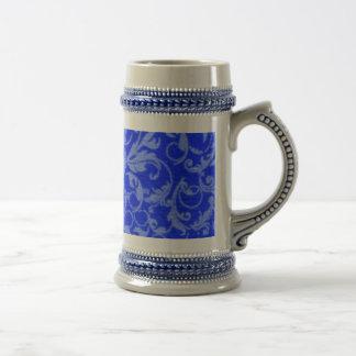 Retro Vintage Swirls Sapphire Blue Stein Mug