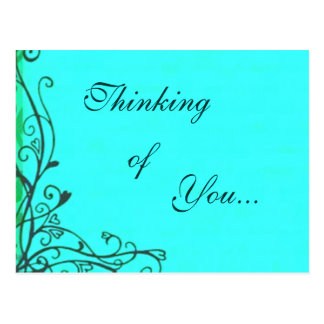 Retro Vintage Thinking of You Teal Postcard