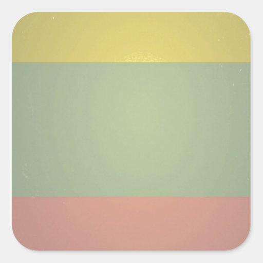 Retro Vintage Tri Color Pattern Square Sticker