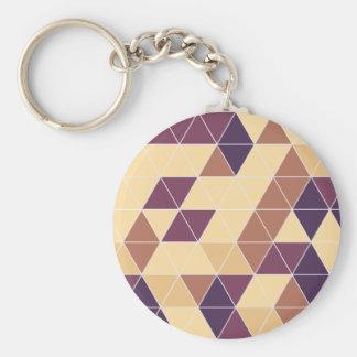 Retro vintage triangle pattern basic round button key ring