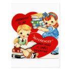 Retro Vintage Valentine book fun postcard