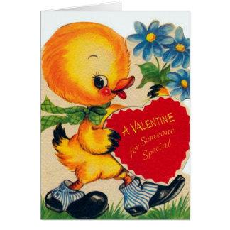 Retro Vintage Valentine duck add message card