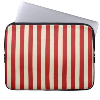 Retro Vintage Vertical Popcorn Stripes in Red Laptop Sleeve