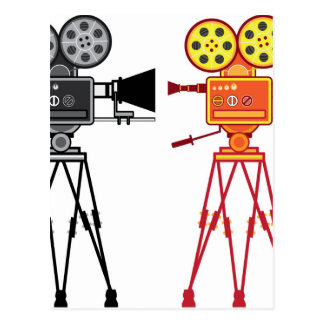 Retro Vintage Video Projector Camera Movie Vector Postcard