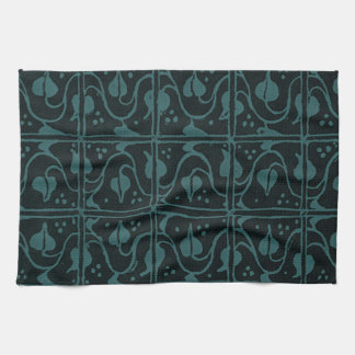 Retro Vintage Vines Black Teal Kitchen Towels