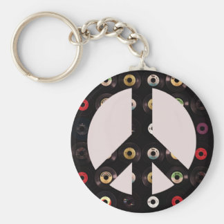 Retro Vintage Vinyl Record Peace Sign Basic Round Button Key Ring