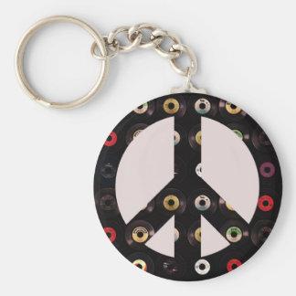 Retro Vintage Vinyl Record Peace Sign Key Ring