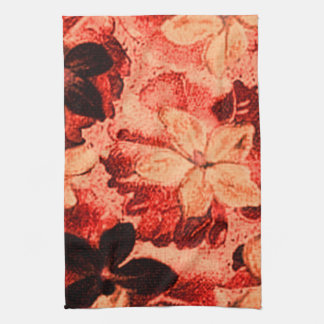 Retro Vintage Violets Burnt Orange Kitchen Towels
