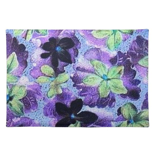 Retro Vintage Violets Green Purple Placemat