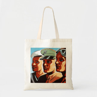 Retro Vintage War Military Armed Forces Profiles Tote Bag