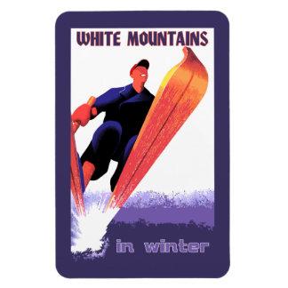 Retro vintage White Mountains in winter Rectangular Photo Magnet