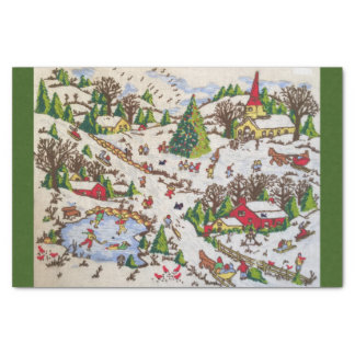 Retro Vintage Winter Holiday Scene Tissue Paper