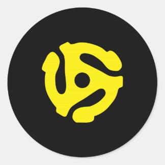 Retro Vintage Yellow 45 spacer DJ Round Sticker