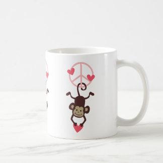 Retro Vinttage Hanging Peace Monkey - Blue or Pink Basic White Mug