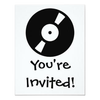 retro vinyl record 11 cm x 14 cm invitation card
