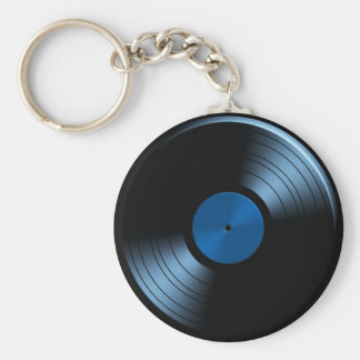 Retro Vinyl Record Album in Blue Basic Round Button Key Ring