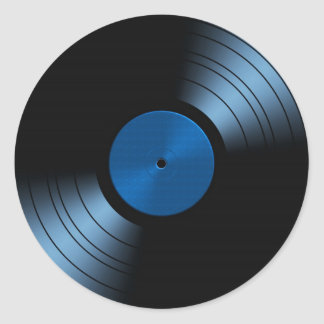 Retro Vinyl Record Album in Blue Round Sticker