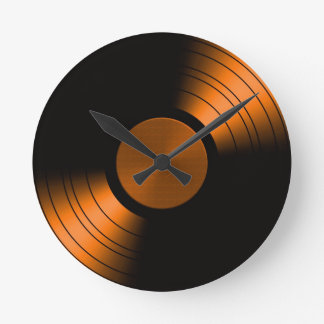 Retro Vinyl Record Album in Orange Round Clock