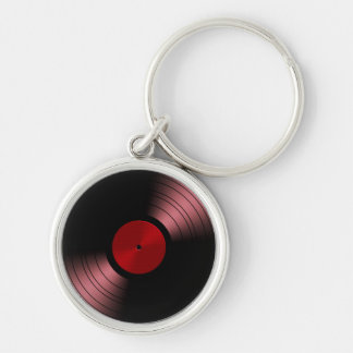 Retro Vinyl Record Album in Red Key Ring