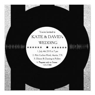 Retro Vinyl Record Chic Silver Wedding Invites