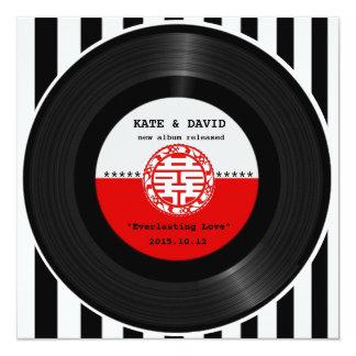 Retro Vinyl Record Double Happiness Wedding 13 Cm X 13 Cm Square Invitation Card