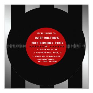 Retro Vinyl Record l Modern Birthday Party Invites
