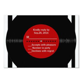 Retro Vinyl Record l Modern RSVP 9 Cm X 13 Cm Invitation Card