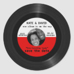 Retro Vinyl Record l Modern Save-the-Date Round Stickers