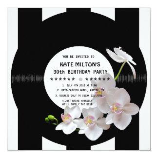 Retro Vinyl Record Modern Orchids Birthday Invites