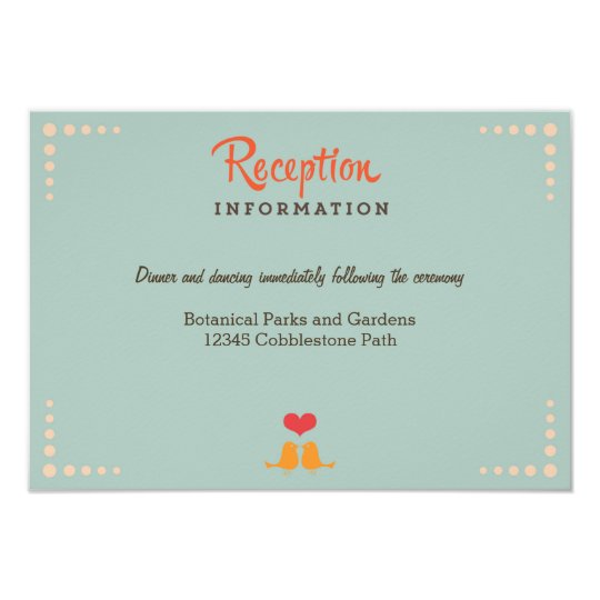 Retro Vinyl Record Orange Sky Blue Wedding Insert Card