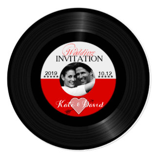 Retro Vinyl Record Photo Calligraphy Wedding 13 Cm X 13 Cm Square Invitation Card