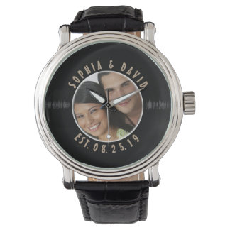 Retro Vinyl Record Photo Custom Wedding Keepsake Watch
