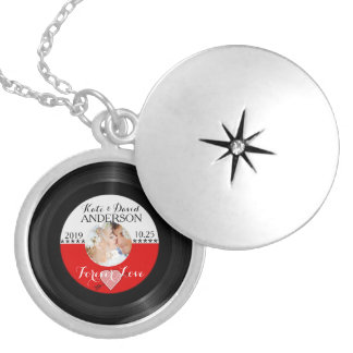 Retro Vinyl Record Photo Wedding Date Anniversary Silver Plated Necklace