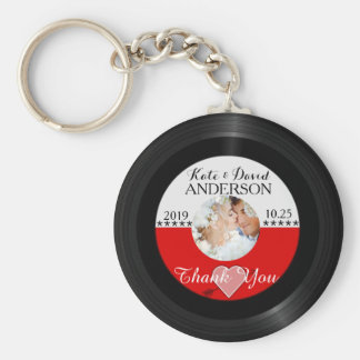 Retro Vinyl Record Photo Wedding Favor Thank You Key Ring