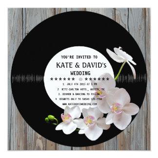 Retro Vinyl Record Rustic Country Wedding Invites