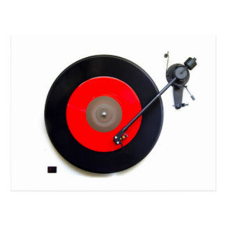 Retro Vinyl Turntable Postcard