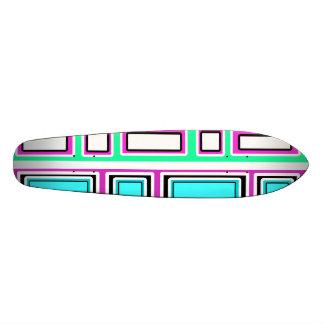 Retro violet green blue rectangle pattern 20 cm skateboard deck