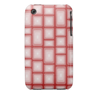 Retro Visual Effect Squares on Red V1 iPhone 3 Cover