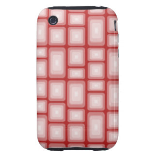 Retro Visual Effect Squares on Red V1 iPhone 3 Tough Covers