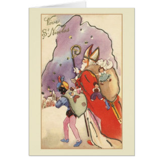 Retro Vive St. Nicolas French Christmas Card