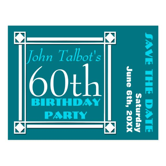 Retro W 60th birthday Party Save the date