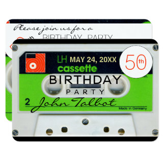 Retro W Audiotape 50th birthday Party Invitation